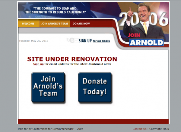 Screen capture of JoinArnold.com 2006