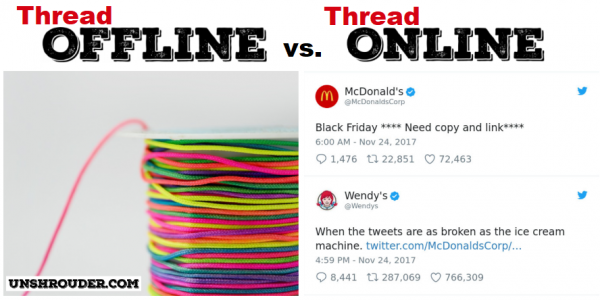 How the internet has changed the English language - Thread online vs thread offline