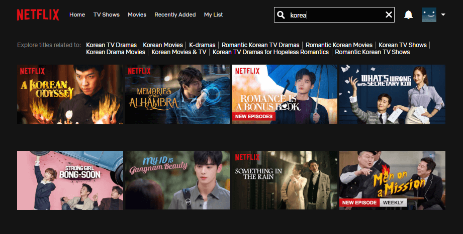 How to search for movies on Netflix - search bar