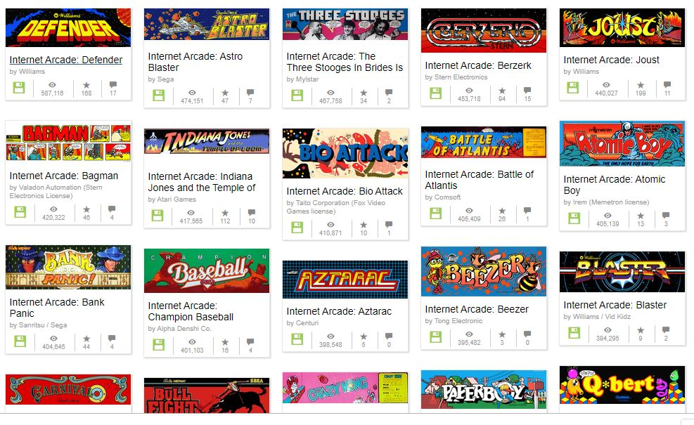 Sample of some of the Arcade games available in the Internet Archive