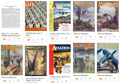 Archived magazines from 1944