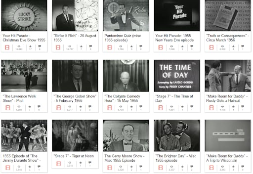 Television shows from 1955 viewable for free through the WayBack Machine