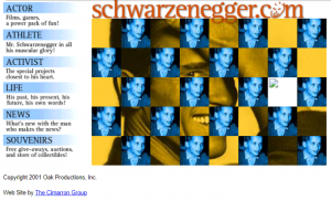 Schwarzenegger.com 2001 website screenshot