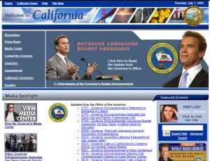 2005 screenshot of gov.ca.gov