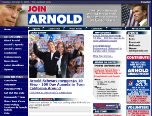 JoinArnold.com 2003 website screenshot