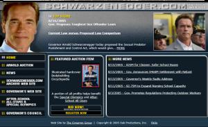 Schwarzenegger.com 2005 website screenshot